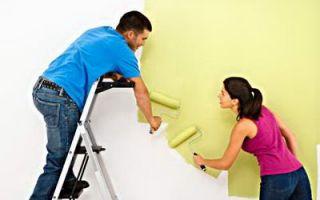 Окраска стен и потолка.